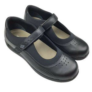 Drew Rose Black Leather Mary Jane Comfort Shoes 9M